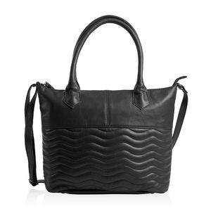 Black Genuine Leather RFID Wave Quilted Pattern Tote Bag with Standing Studs (16x11.25x4.5 in)