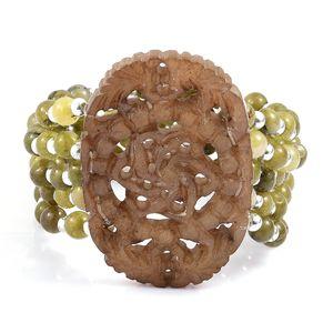 Serpentine, Green Quartzite, Resin Multi Row Good Luck Charm Bracelet (Stretchable) TGW 222.21 cts.
