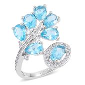 Madagascar Paraiba Apatite, White Zircon Sterling Silver Bypass Ring (Size 7.0) TGW 3.55 cts.