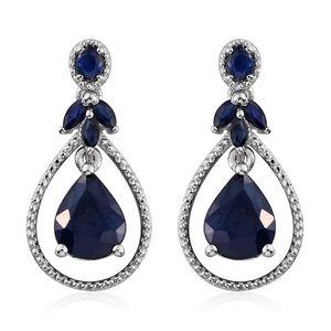 Kanchanaburi Blue Sapphire Platinum Over Sterling Silver Earrings TGW 6.37 cts.
