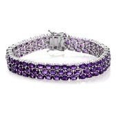 African Amethyst Platinum Over Sterling Silver Bracelet (6.50 In) TGW 23.75 cts.