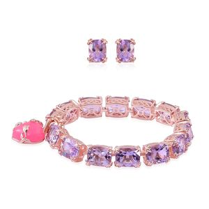 Burmese Pink Jade, Rose De France Amethyst 14K RG Over Sterling Silver Bracelet (8.00 In) and Earrings TGW 58.07 cts.