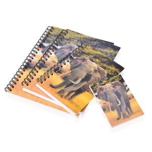 Set of 4 Yellow 3D Elephant Printed Notebooks (7.5x5.5-3.25x2.50 in)