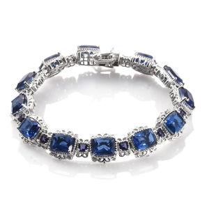 Brazilian Azul Quartz, Catalina Iolite Platinum Over Sterling Silver Bracelet (7.50 In) TGW 29.53 cts.