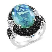 Peacock Quartz, Multi Gemstone Black Rhodium & Platinum Over Sterling Silver Ring (Size 10.0) TGW 15.36 cts.