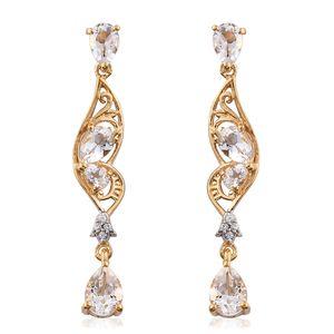 Brazilian Goshenite, Cambodian Zircon 14K YG Over Sterling Silver Drop Earrings TGW 2.96 cts.