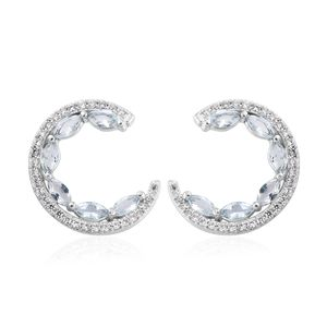 Brazilian Goshenite, Cambodian Zircon Platinum Over Sterling Silver Half Circle Earrings TGW 3.35 cts.