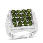 Russian Diopside Platinum Over Sterling Silver Checkerboard Men's Ring (Size 14.0) TGW 4.60 cts.