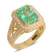 ILIANA 18K Yellow Gold Colombian Emerald, Diamond Ring (Size 7.0) TDiaWt 0.68 cts, TGW 3.81 cts.