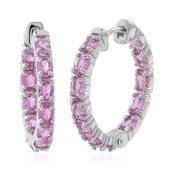 Madagascar Pink Sapphire Sterling Silver Hoop Earrings TGW 4.56 cts.