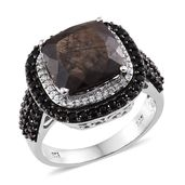 Chocolate Sapphire, Thai Black Spinel, Cambodian Zircon Platinum Over Sterling Silver Ring (Size 7.0) ts. TGW 12.08 cts.