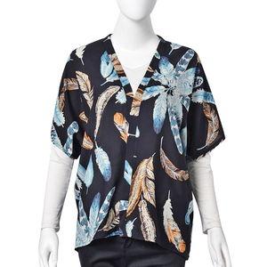 Black 100% Viscose Feather Pattern Short Sleeve Open Kimono (One Size)