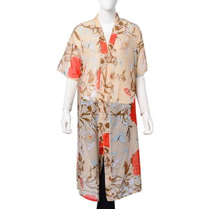 Light Coffee 100% Polyester Flower Pattern Kimono (23.63x43.31 in)