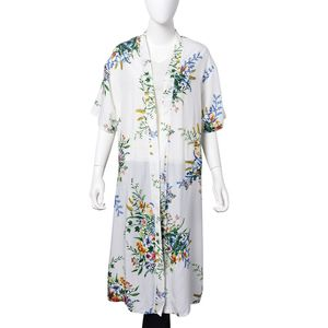 White with Multi Color Flower Pattern 100% Viscose Short Sleeve Kimono (23.63x43.30 in)
