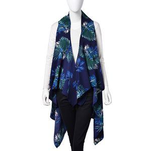 Navy 100% Polyester Tropical Leaf Pattern Sleeveless Waterfall Kimono (One Size)