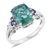 Peacock Quartz, Catalina Iolite Platinum Over Sterling Silver Ring (Size 8.0) TGW 6.18 cts.