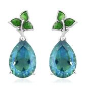 Peacock Quartz, Green Enameled Platinum Over Sterling Silver Leaf Drop Earrings TGW 11.14 cts.