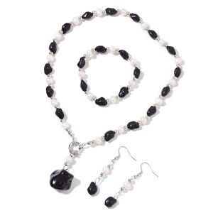 Black Howlite, Freshwater Pearl - White, Resin Silvertone & Stainless Steel Bracelet (6.50 in), Earrings and Necklace (18.00 In) TGW 134.40 cts.