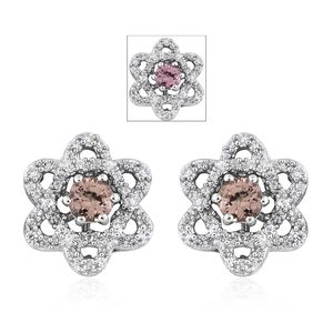 Merelani Color Change Garnet, Cambodian Zircon Platinum Over Sterling Silver Earrings TGW 1.63 cts.