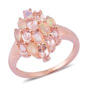 Marropino Morganite, Ethiopian Welo Opal 14K RG Over Sterling Silver Cluster Ring (Size 10.0) TGW 2.60 cts.