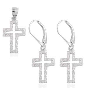 Simulated Diamond Sterling Silver Lever Back Earrings and Cross Pendant without Chain TGW 1.20 cts.