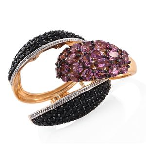 GP Orissa Rhodolite Garnet, Thai Black Spinel 14K YG Over Sterling Silver Multi Wear Cage Ring (Size 6.0) TGW 7.19 cts.