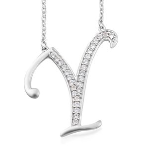 Initial Y Necklace Featuring Cambodian White Zircon in Platinum Over Sterling Silver (20 in) TGW 0.52 cts.