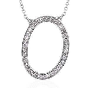 Initial O Necklace Featuring Cambodian White Zircon in Platinum Over Sterling Silver (20 in) TGW 0.75 cts.