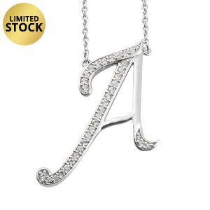 Initial A Necklace Featuring Cambodian White Zircon in Platinum Over Sterling Silver (20 in) TGW 0.65 cts.