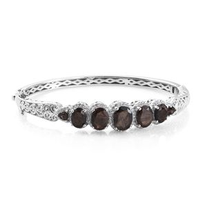 Chocolate Sapphire, Multi Gemstone Platinum Over Sterling Silver Bangle (7.25 in) TGW 12.90 cts.