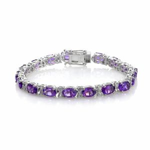 One Day TLV Amethyst, Cambodian Zircon Platinum Over Sterling Silver Bracelet (6.50 In) TGW 14.62 cts.