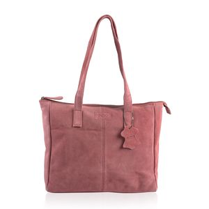 Wine 100% Genuine Leather Tote Bag (12.75x4x11.25 in) and RFID Wrislet Clutch