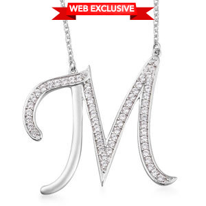 Initial M Necklace Featuring Cambodian White Zircon in  Platinum Over Sterling Silver (20 in) TGW 1.06 cts.