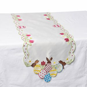 White 100% Polyester Easter Eggs Embroidered Table Runner (72x16 in)