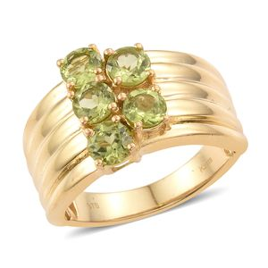 KARIS Collection - Hebei Peridot ION Plated 18K YG Brass 5 Stone Ring (Size 7.0) TGW 2.75 cts.