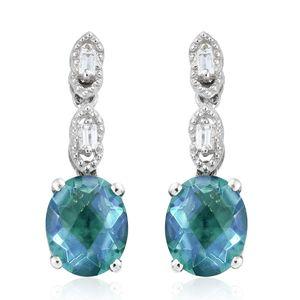 Peacock Quartz, White Topaz Platinum Over Sterling Silver Earrings TGW 6.74 cts.