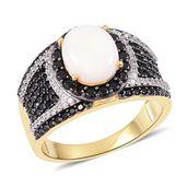 Australian White Opal, Thai Black Spinel, White Zircon Black Rhodium, Platinum and 14K YG Over Sterling Silver Ring (Size 11.0) TGW 3.26 cts.