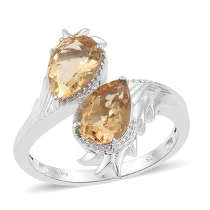 KARIS Collection - Brazilian Citrine Platinum Bond Brass Bypass Ring (Size 7.0) TGW 3.37 cts.