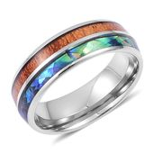 Abalone Shell, Wooden Tungsten Carbide Men's Band Ring (Size 11.5) TGW 10.00 cts.