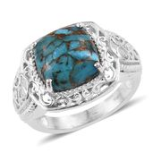 KARIS Collection - Mojave Blue Turquoise Platinum Bond Brass Ring (Size 7.0) TGW 6.65 cts.