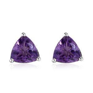Rose De France Amethyst Platinum Over Sterling Silver Trillion Stud Earrings TGW 3.26 cts.