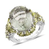 Green Amethyst, Hebei Peridot, Cambodian Zircon Platinum Over Sterling Silver Ring (Size 8.0) TGW 21.66 cts.