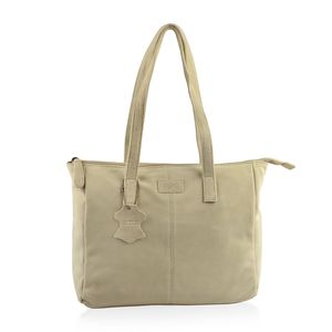 Cream 100% Genuine Leather Tote Bag (12.75x4x11.25 in) with Detachable RFID Wrislet Clutch (7.5x4.5 in)