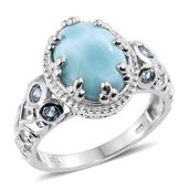 Larimar, Electric Blue Topaz Platinum Over Sterling Silver Ring (Size 5.0) TGW 7.17 cts.