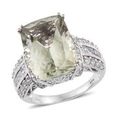 Green Amethyst, White Topaz Platinum Over Sterling Silver Ring (Size 7.0) TGW 15.22 cts.