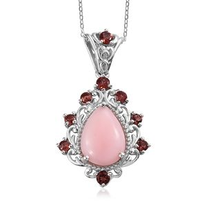 Peruvian Pink Opal, Mozambique Garnet Platinum Over Sterling Silver Pendant With Chain (20 in) TGW 4.75 cts.