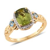 Nitin's Knockdown Deals Hebei  Peridot, Swiss Blue Topaz, Cambodian Zircon Vermeil YG Over Sterling Silver Ring (Size 7.0) TGW 3.94 cts.