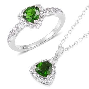 Russian Diopside, White Zircon Sterling Silver Ring (Size 9) and Pendant With Chain (18 in) TGW 2.55 cts.
