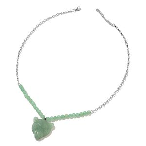 Green Aventurine Stainless Steel Tiger Head Necklace (22 in) TGW 133.00 cts.