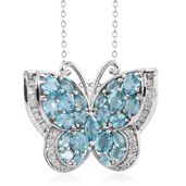 Madagascar Paraiba Apatite, White Topaz Platinum Over Sterling Silver Butterfly Pendant With Chain (20 in) TGW 5.17 cts.